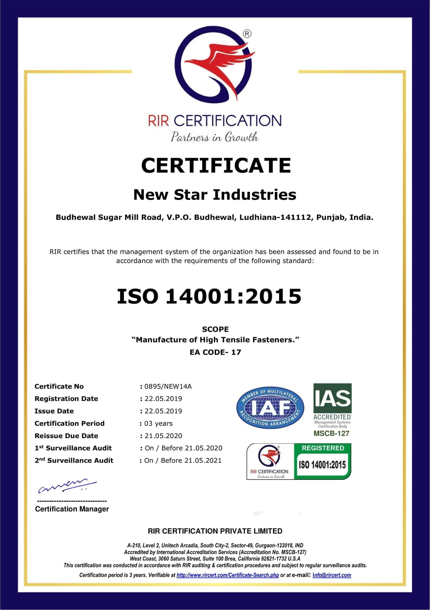 ISO 14001:2015 Certification.